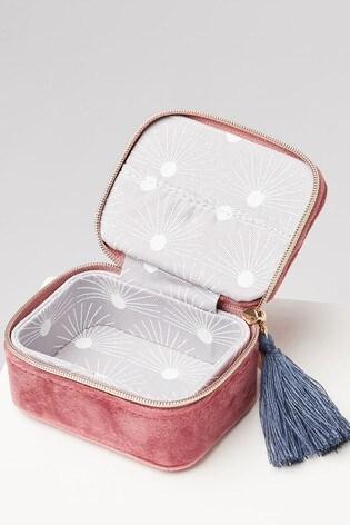 Oliver Bonas Sol Pink Velvet Alphabet Z Travel Jewellery Box