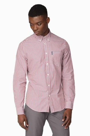 Ben Sherman Red Long Sleeve Signature Gingham Shirt
