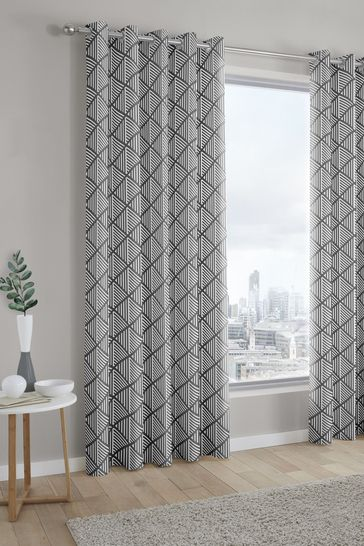 Brooklyn Geo Lined Eyelet Curtains by Fusion
