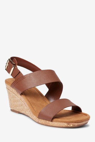 Tan Forever Comfort® Cork Detail Two Band Wedges
