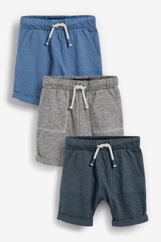 Blue Mix 3 Pack Lightweight Jersey Shorts (3mths-7yrs)