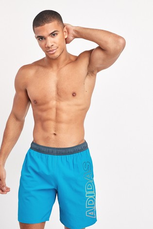 adidas Blue Linear Swim Shorts