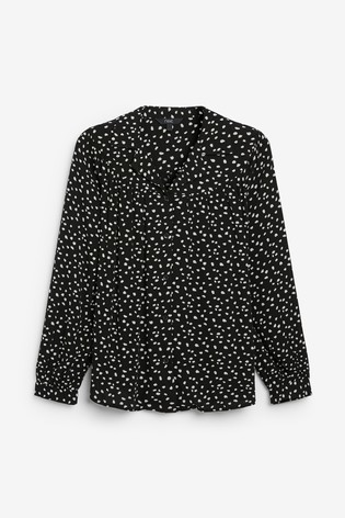 Black Spot Gathered Yoke Shirt