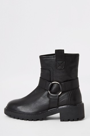 River Island Black Leather Biker Boots