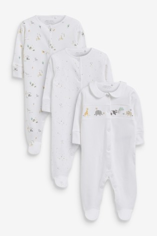 White Character 3 Pack Delicate Appliqué Sleepsuits (0-18mths)