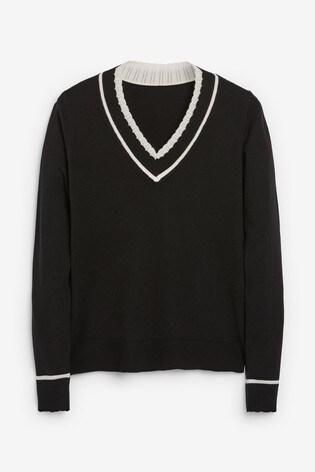 Black Crochet Trim V-Neck Jumper