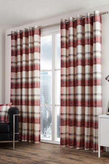 Balmoral Check Eyelet Curtains by Fusion
