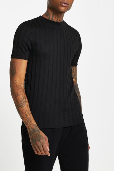 River Island Black Muscle Chunky Rib T-Shirt
