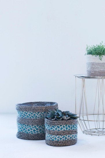 Set of 3 Skalo Seagrass Lined Baskets by Ivyline