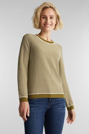 Esprit Green Long Sleeved Fancy Stitch Sweater