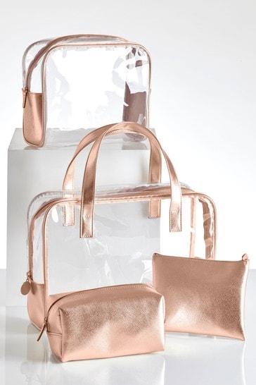 Set of 4 Rose Gold Make-Up Bag
