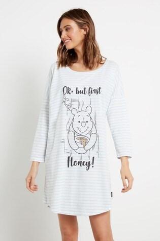 F&F Blue Winnie The Pooh Stripe Sleep T-Shirt