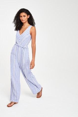 Blue Stripe Linen Blend Jumpsuit
