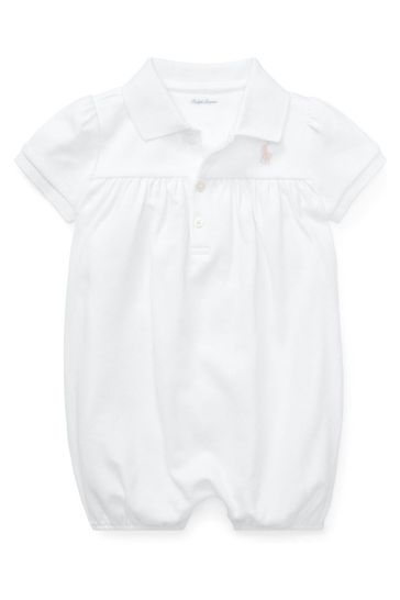 Ralph Lauren White Polo With Pink Logo Romper