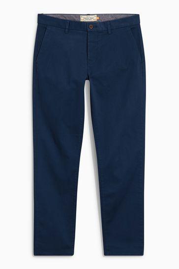 Dark Blue Straight Fit Stretch Chinos