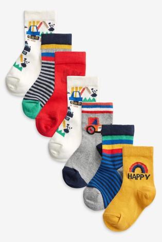 Bright Transport 7 Pack Cotton Rich Socks
