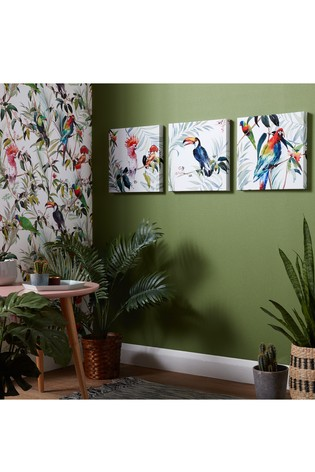 Set of 3 Tropical Amazon Birds Canvases by Art For The Home