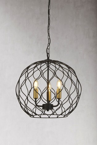 Hollow 3 Light Round Pendant by Searchlight