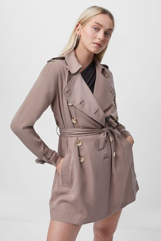 French Connection Brown Ceza Belted Trench Coat