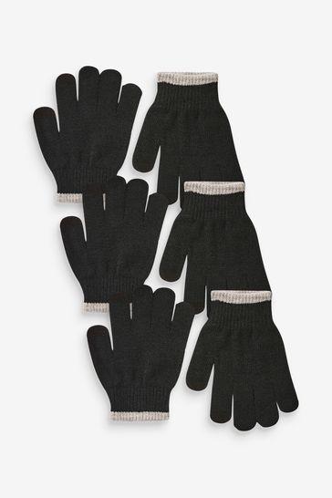 Black 3 Pack Knitted Gloves (3-16yrs)