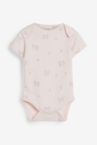 Pink 4 Pack  Delicate Bunny Short Sleeved Bodysuits (0mths-3yrs)