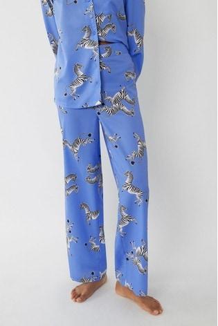 Warehouse Blue Zebra Pyjama Bottoms