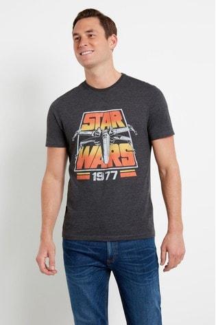 F&F Grey Marl Star Wars™ Retro Charcoal T-Shirt