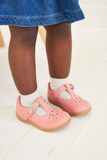 Pink Leather Standard Fit (F) First Walker T-Bar Shoes