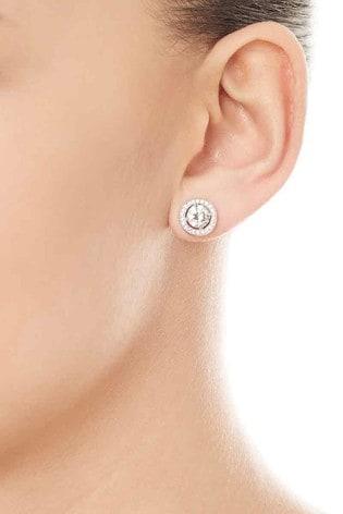 Beaverbrooks Silver Cubic Zirconia Halo Stud Earrings