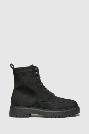 Schuh Black Anabelle Brouge Lace Up Boots
