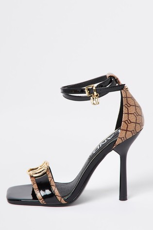 River Island Black Monogram Barely There Sandals