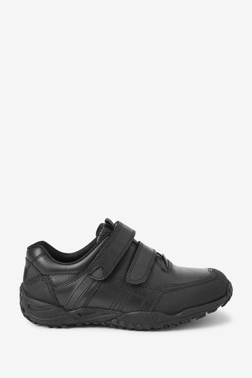 Black Wide Fit (G) Leather Double Strap Shoes