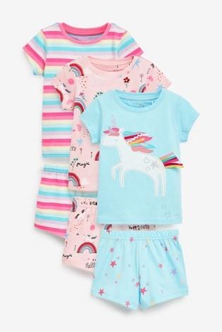 Pink/Turquoise 3 Pack Bright Unicorn Cotton Short Pyjamas (9mths-8yrs)