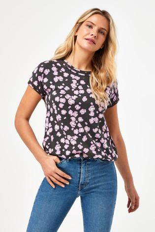 Purple Animal Print Bubble Hem T-Shirt