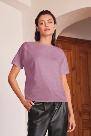 Lilac Embroidered Star Raglan T-Shirt