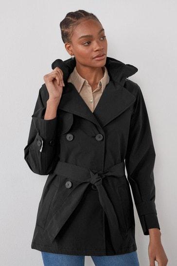 Black Waterproof Trench Coat