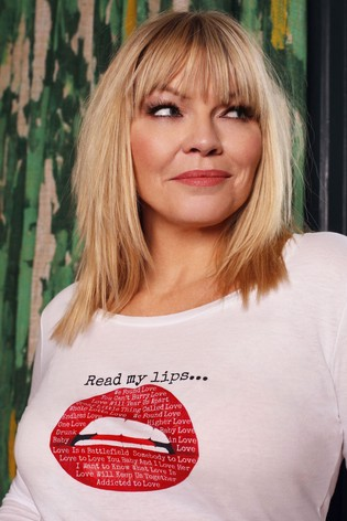 Kate Thornton Gina Potter 'Words of Love'  Red Lips Long Sleeve T-Shirt