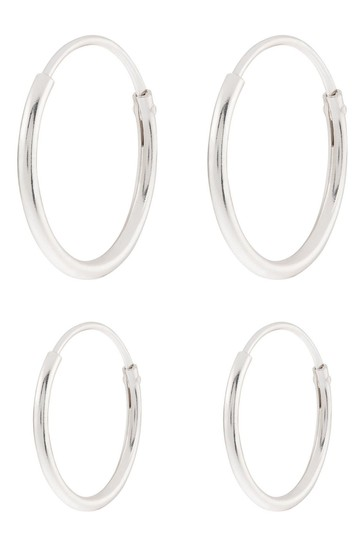 Accessorize Sterling Silver Plain Mini Hoop Set