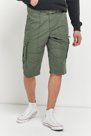 Khaki Belted Longer Cargo Shorts