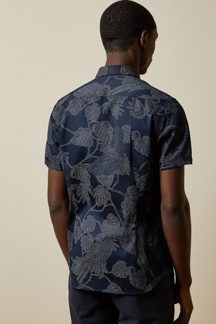 Ted Baker Downdog Parrot And Leaf Print Shirt