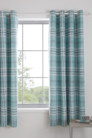 Kelso Check Lined Eyelet Curtains by Catherine Lansfield