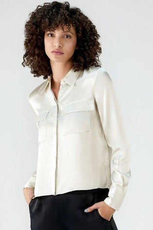 Pure Collection Silver Satin Crop Utility Blouse