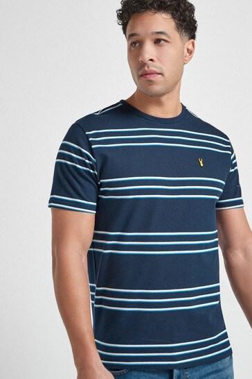 Navy Pique Stripe T-Shirt