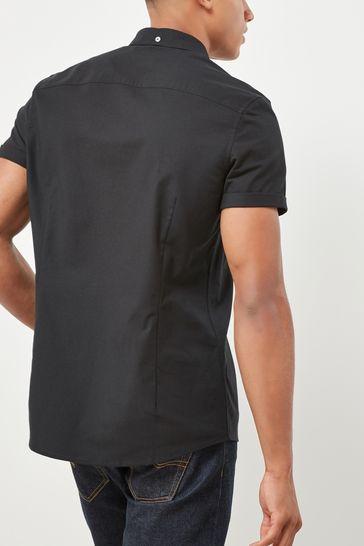 Black Slim Fit Short Sleeve Stretch Oxford Shirt