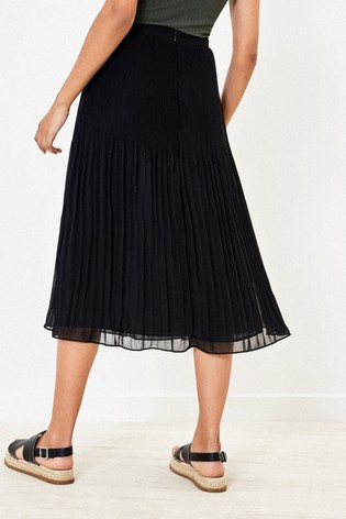 Oasis Black Mushroom Pleat Midi Skirt