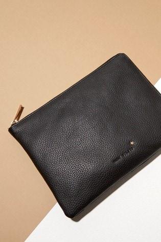 Mint Velvet Black Leather Travel Wallet