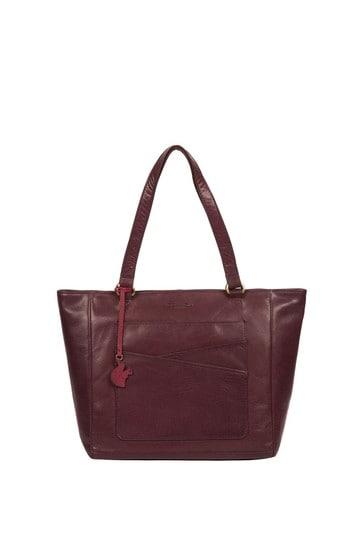 Conkca Plum Monique Leather Tote Bag