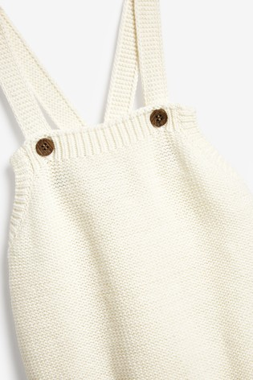 The Little Tailor Cream Knitted Baby Romper Bodysuit