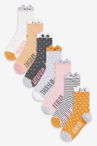 Multi 7 Pack Days Of The Week Character Socks