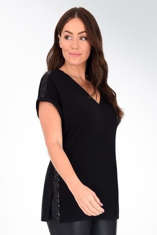 Live Unlimited Curve Black Sequin Panel Top